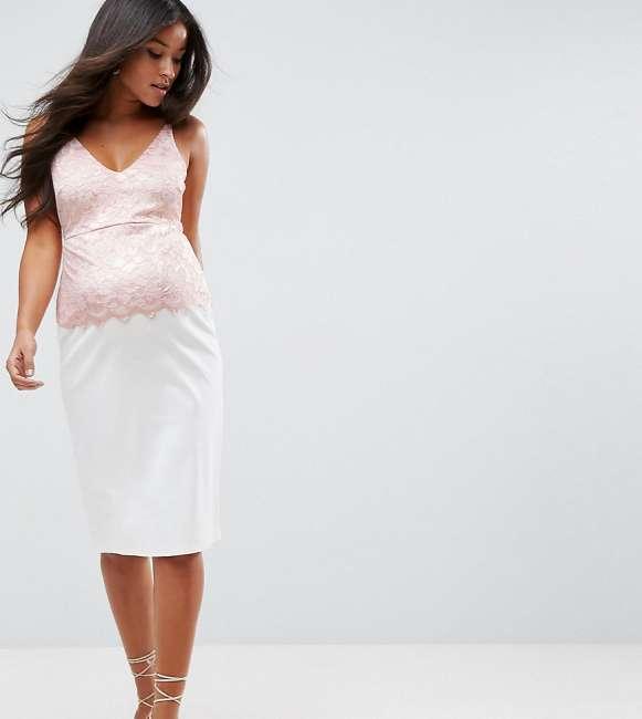 Priser på ASOS Maternity Lace Top Cami Dress in Scuba - White
