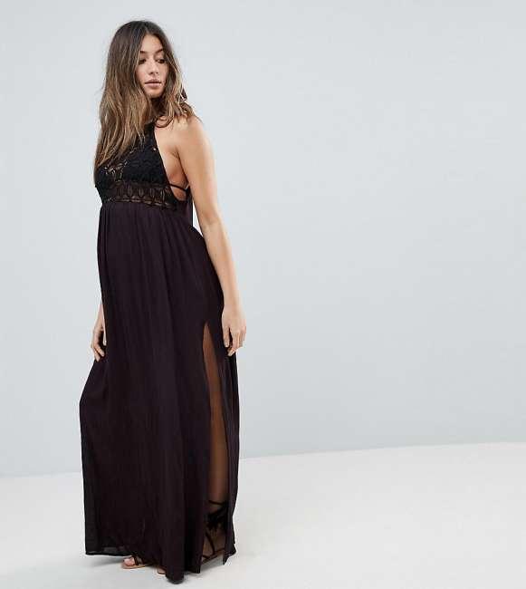 Priser på ASOS Maternity Premium Crochet Panel Maxi Beach Dress - Black