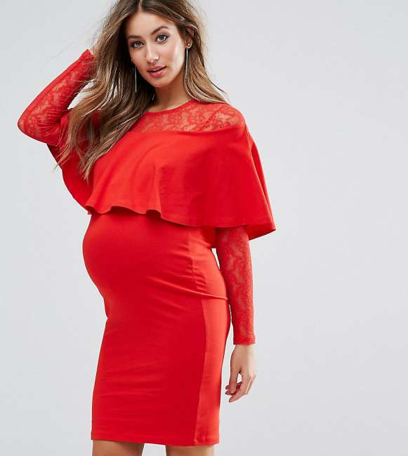 Priser på ASOS Maternity Ruffle Front Lace Mix Bodycon Mini Dress - Red