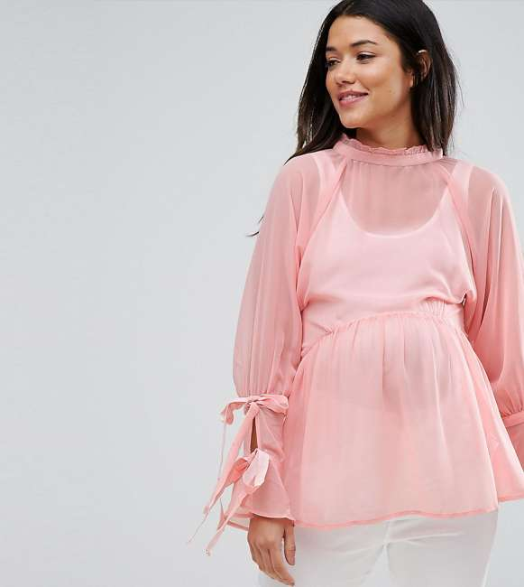 Priser på ASOS Maternity Smock Top with Tie Sleeves - Pink