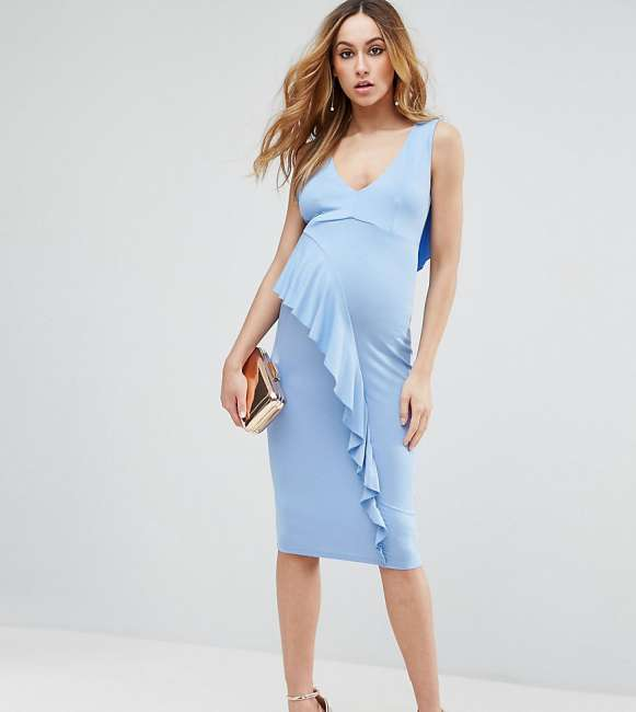 Priser på ASOS Maternity TALL Waterfall Ruffle Back Midi Bodycon Dress - Blue