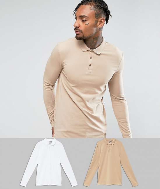 Priser på ASOS Muscle Fit Long Sleeve Jersey Polo 2 Pack SAVE - Multi
