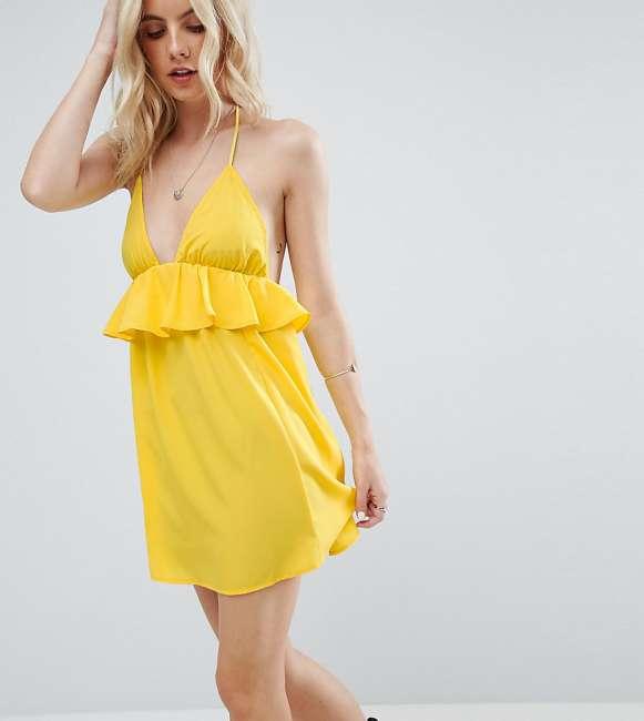 Priser på ASOS PETITE Beach Halter Sundress with Frill Detail - Yellow
