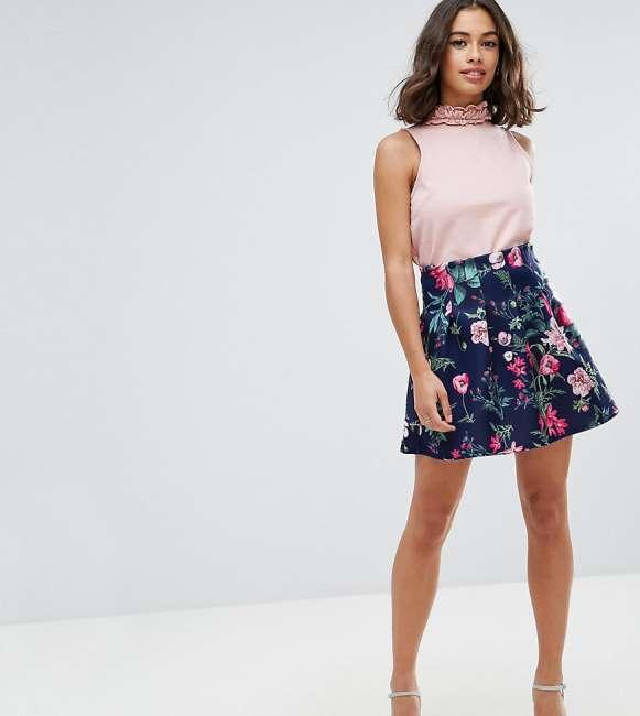 Priser på ASOS PETITE Scuba Lantern Mini Skirt in Print - Multi