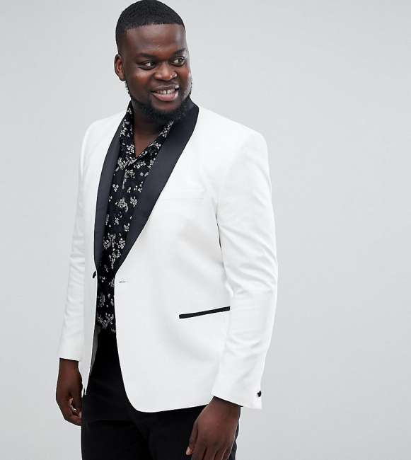 Priser på ASOS PLUS Slim Tuxedo Suit Jacket In White With Black Contrast Lapel - White