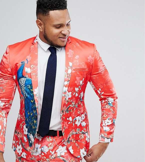 Priser på ASOS PLUS Super Skinny Suit Jacket With Red Peacock Print - Red