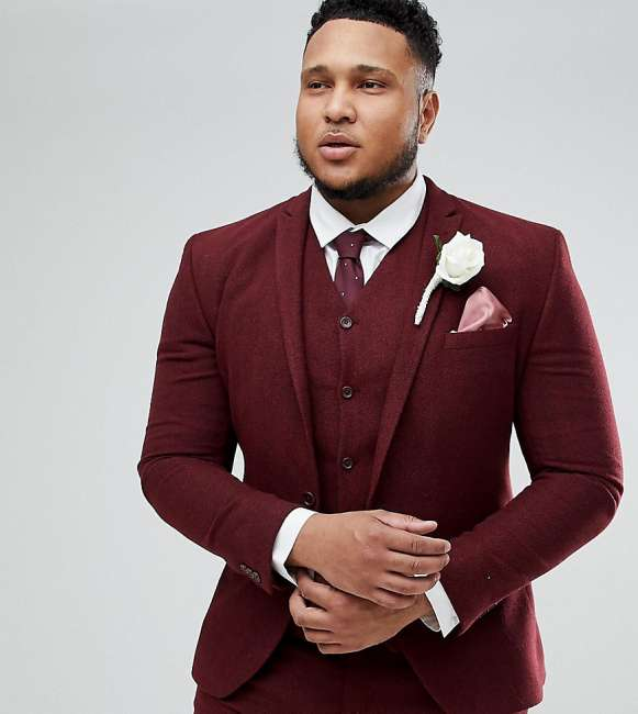 Priser på ASOS PLUS Wedding Super Skinny Suit Jacket in Wine Herringbone - Red