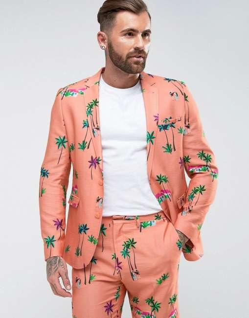 Priser på ASOS Skinny Suit Jacket In Coral Tropical Print - Pink