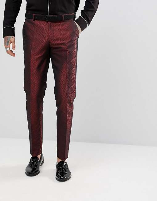 Priser på ASOS Skinny Suit Trousers In Red Lava Jacquard - Red