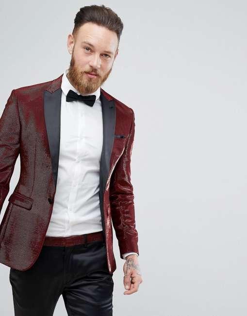 Priser på ASOS Super Skinny Tuxedo Jacket In Red Glitter - Red
