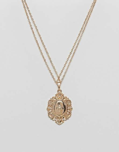 Priser på ASOS Vintage Style Lucky Locket Necklace - Gold