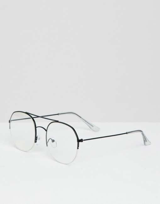 Priser på Bershka Aviator Glasses In Black With Clear Lens - Black