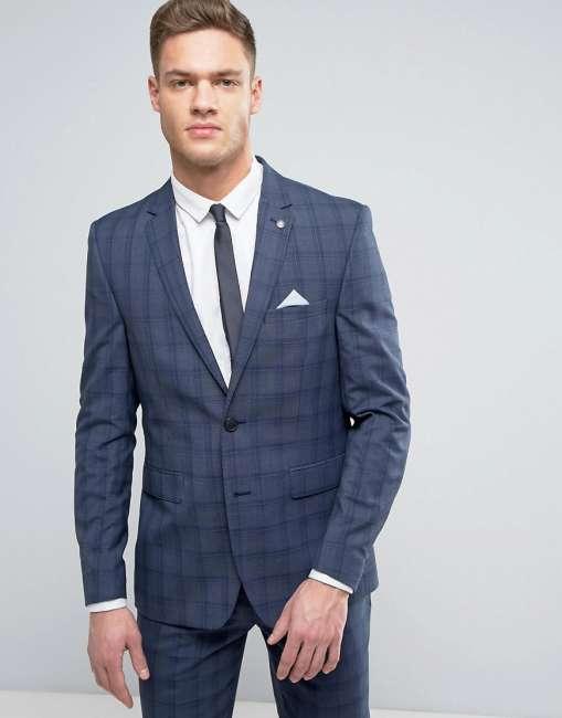 Priser på Burton Menswear Slim Suit Jacket in Check - Blue