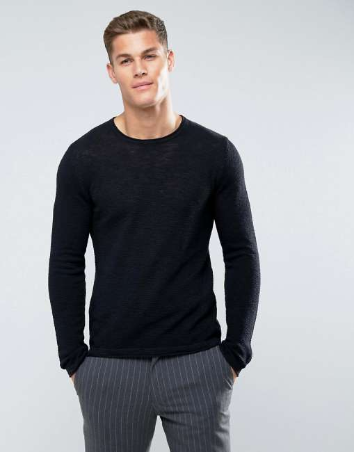 Priser på Celio Jumper With Raw Neck In Black - Black