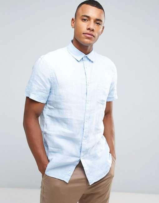 Priser på Celio Short Sleeve Shirt In 100% Linen - Blue