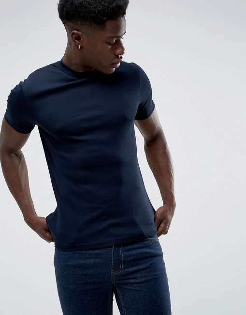 Priser på Celio T-Shirt With High Neck - Navy