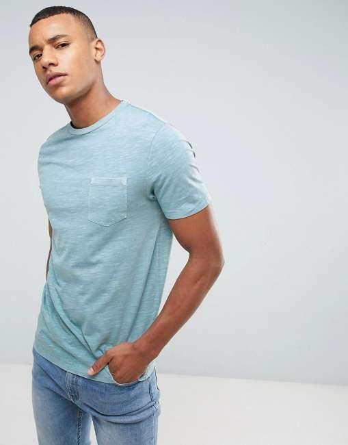 Priser på Celio Washed T-Shirt With Pocket - Grey