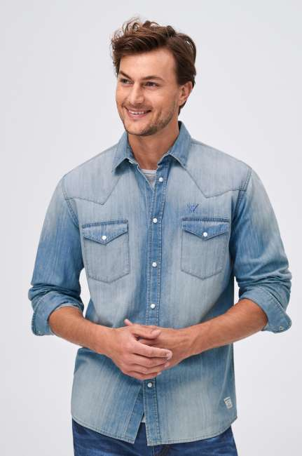 Priser på Denimskjorte med vasket look