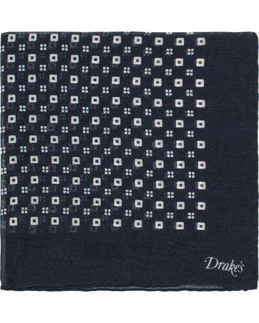Priser på Drake's Cashmere/Silk Square Print Pocket Square Navy