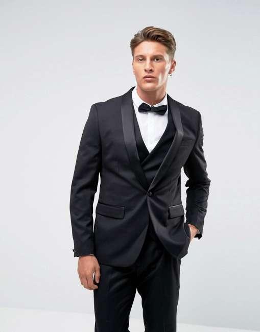 Priser på Farah Skinny Tuxedo Suit Jacket - Black