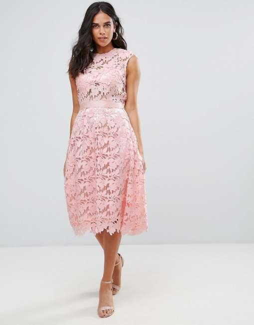 Priser på Forever Unique Lace Midi Dress - Pink