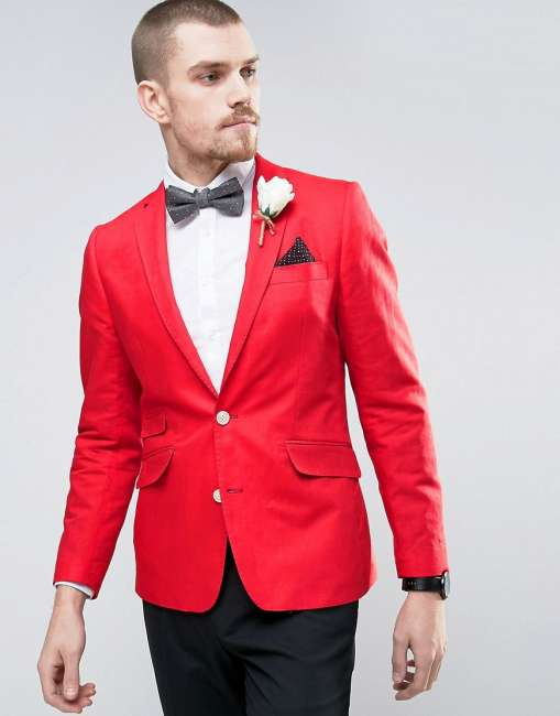 Priser på Gianni Feraud Wedding Linen Slim Fit Jacket With Cream Flower Lapel Pin - Red