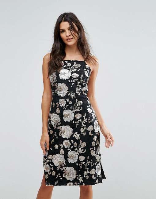 Priser på Goldie Metallic Floral Sequin Midi Dress - Multi