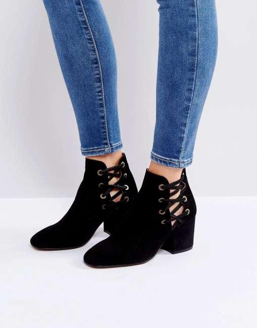 Priser på Hudson Kris Suede Cut Out Ankle Boots - Black