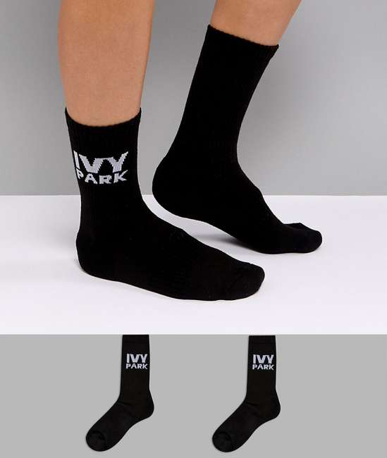 Priser på Ivy Park Logo Crew Socks 2Pk In Black - Black