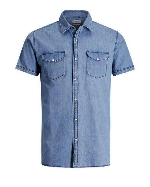 Priser på Jack & Jones Jorone shirt S/S 12118750 (LYSEBLÅ, MEDIUM)