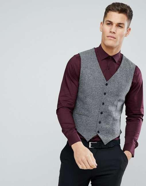 Priser på Jack & Jones Premium Slim Tweed Waistcoat - Grey