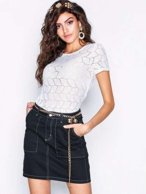 Priser på Jacqueline de Yong Jdytag S/S Lace Top Jrs RPT2 Noos Bluser & skjorter Hvid