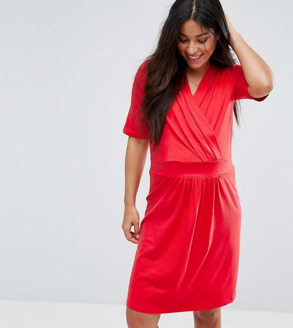 Priser på Mamalicious Nursing Wrap Jersey Dress - Red