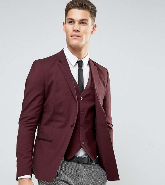 Priser på Only & Sons Skinny Suit Jacket With Square Hem In Marl - Red