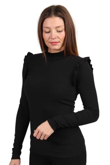 Priser på Pieces - Bluse - PC Fia LS Top - Black