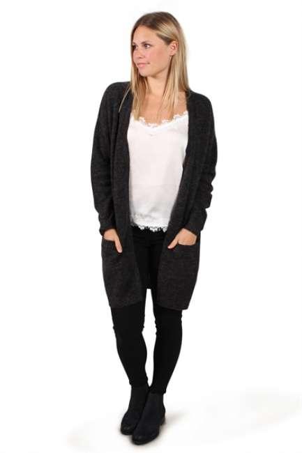 Priser på Pieces - Cardigan - PC Renee LS Long Wool Cardigan - Dark Grey Melange