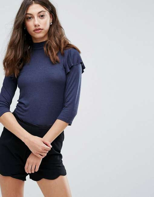 Priser på Pieces Frill Shoulder Turtleneck Top - Navy