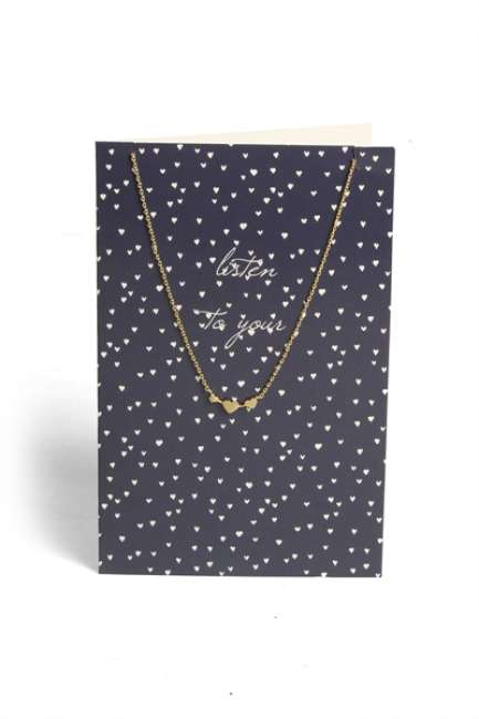 Priser på Pieces - Halskæde - PC Lala Necklace Gift Card Box - Gold Colour - Listen To You