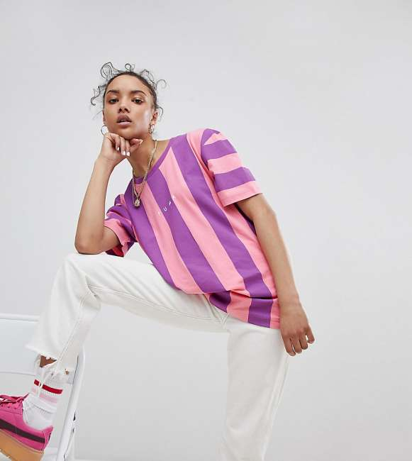 Priser på Puma Exclusive To ASOS T-Shirt In Bold Pink And Purple Stripe - Pink