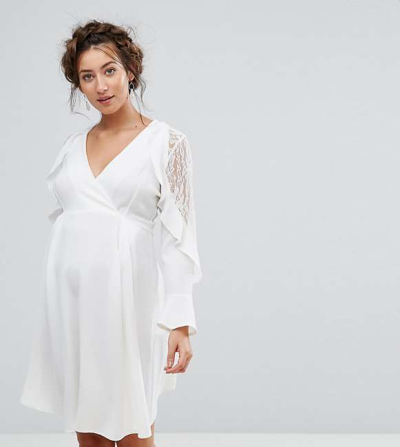Priser på Queen Bee Maternity Ruffle Sleeve Dress With Lace - White