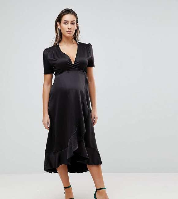 Priser på Queen Bee Maternity Wrap Front Asymmetric Ruffle Front Midi Skater Dress - Black