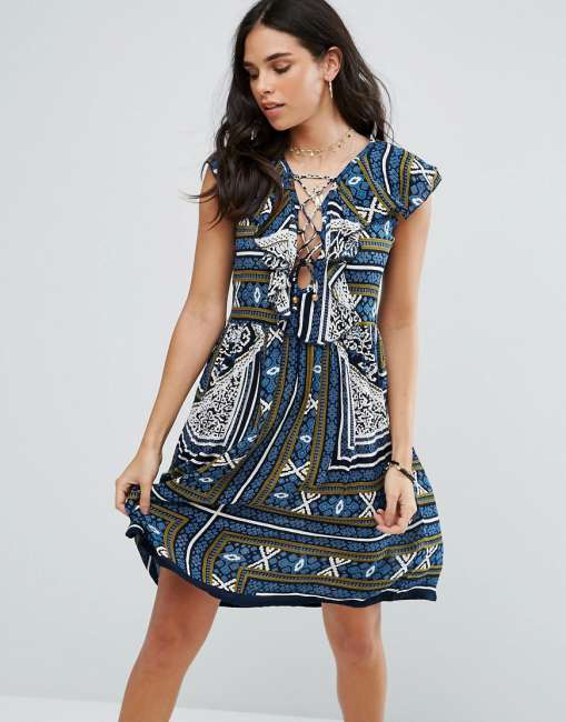 Priser på Raga Riviera Maya Printed Mini Dress - Navy