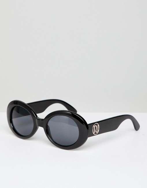 Priser på River Island 90s Oval Sunglasses - Black