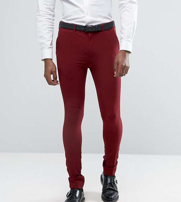 Priser på Rogues of London Super Skinny Suit Trousers - Red
