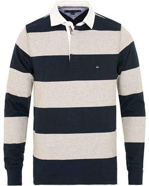 Priser på Tommy Hilfiger Iconic Block Stripe Rugby Sky Captain/Cloud Heather