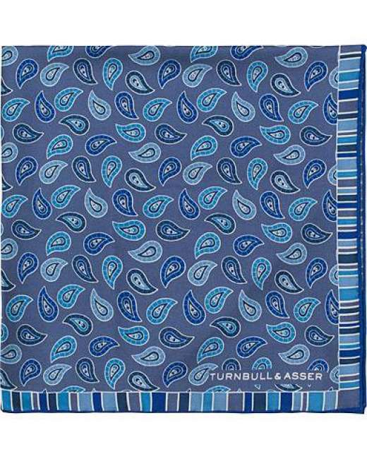 Priser på Turnbull & Asser Silk Classic Paisley Pocket Square Blue