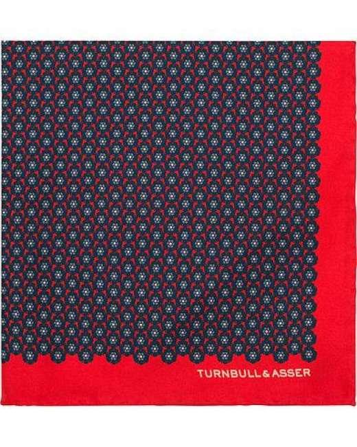 Priser på Turnbull & Asser Silk Flower Pocket Square Red