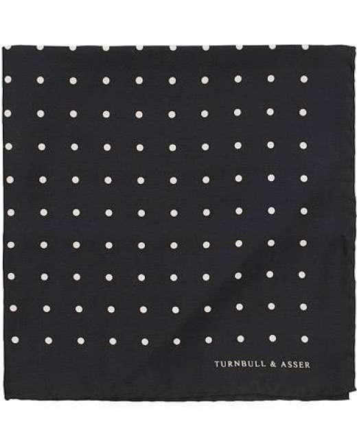 Priser på Turnbull & Asser Silk Spot Pocket Square Black