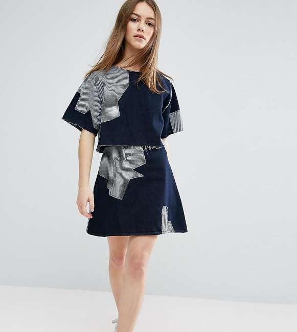 Priser på Waven Petite Contrast Patchwork Skirt - Blue